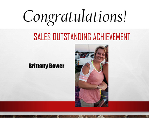 Brittany Bower Outstanding Sales Achievement