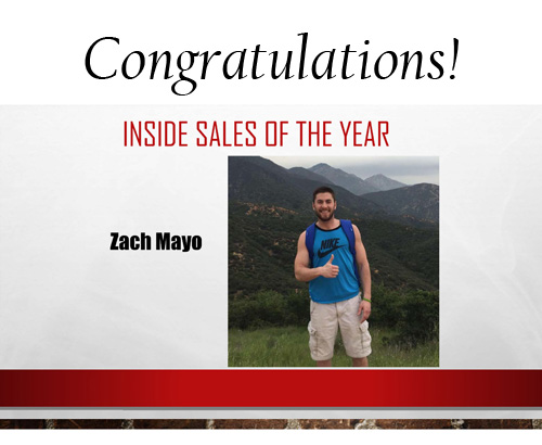 Zach Mayo Inside Sales Manager of the Year